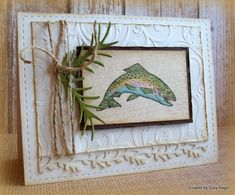 Wood Veneer Leaping Trout by Boss - Cards and Paper Crafts at Splitcoaststampers Birthday Cards For Boys, Masculine Birthday Cards, Masculine Cards, Boy Cards, Men's Cards, Nautical Cards, Fathers Day Cards, Animal Cards, Cards