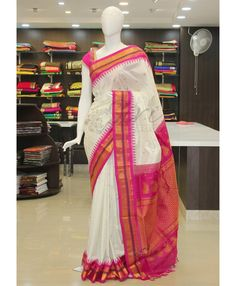 Pure Authentic Gadwal Handloom Silk Saree in Offwhite and Pink with rich pallu…