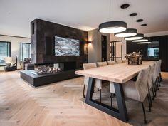 Home Room Design, Dining Room Design, Dining Room Table, Home Interior Design, Dream House Interior, Living Room Interior, Home Living Room, Home Fireplace, Fireplace Design