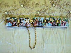 Vintage Romantic Couples Enamel Charm Tile Bracelet * Florentine Style * Unique!
