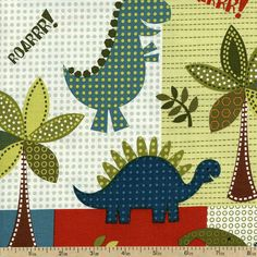 Dino Roars Lil' Dinos Cotton Fabric - Multi CX5871-MULT-D by Beverlys.com