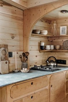 Tiny wood home with terrace Shed To Tiny House, Building A Tiny House, Tiny House Plans, Tiny House On Wheels, Cabins In The Woods, House In The Woods, Tiny House Mobile, Small Apartments, Small Spaces