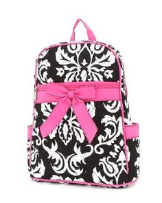 Cotton Quilted Small Damask Backpack for Girls.  $24.99            Black and White Damask Small Girls Backpack with convertible and adjustable shoulder straps, front zipper pocket, and two side pockets