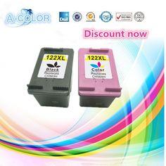2 Piece Ink Cartridge For HP 122 122XL Black & Tri-color Ink Cartridge For HP Deskjet 1000 1050 2000 2050 3000 3050A 3052A