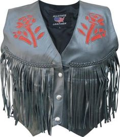 Special Offers - Ladies Red Rose Vest with fringe braid & side laces - In stock & Free Shipping. You can save more money! Check It (April 06 2016 at 01:03AM) >> http://bestsportbikejacket.com/ladies-red-rose-vest-with-fringe-braid-side-laces/
