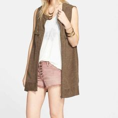 Free People Dark Olive Knit Vest Size L, zip front vest in dark olive (last photo is closest to actual color). NWT, love it but still haven't worn it. Oversized fit, will work up to size 2X. Free People Sweaters