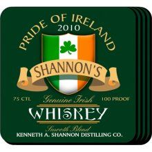 Irish Whiskey Personalized Bar Coasters Set. Your favorite Irish bartender will appreciate these sets of four richly detailed, waterproof coasters, which reflect his fave activity. Our personalized coasters are a perfect accessory to any bar or family room. Our Irish Whiskey Personalized Beverage Coaster Set's personalized design is printed in full color onto a non-skid cork base. Includes 4 coasters and mahogany caddy for storage. Each coaster measures 3.75 x 3.75.