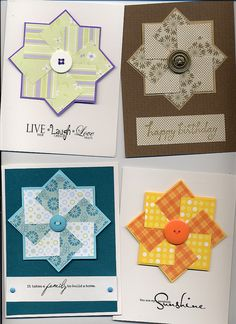 faux quilt block cards ... like the color variations  ...