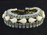 Chunky Blue & White Glass Rhinestone Bracelet Vtg Domed Design ~ Lot 949