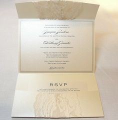 Lace Wrapped Wedding Invitations  I like how these fold open & have a pocket for the RSVP card