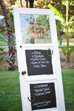 Our wedding dinner menu on a old door!