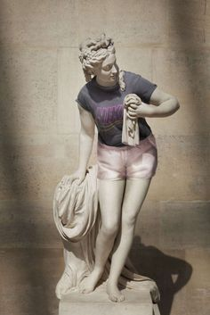 Ancient Greek sculptures dressed up in hipster clothing