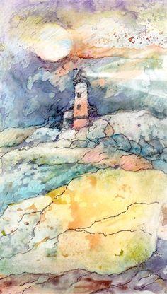 https://flic.kr/p/aQ1Rc2 | lighthouse on yupo | a 5 x 7 watercolor study on yupo paper