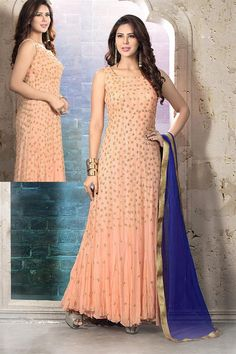 Online Shopping of Peach Wedding Wear Net Anarkali Suit-13038 from SareesBazaar, leading online ethnic clothing store offering latest collection of sarees, salwar suits, lehengas & kurtis