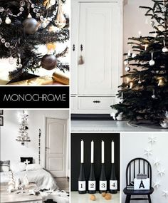 Interior Decorating Trends for Christmas 2014 - Monochrome Christmas Open House, Christmas In Heaven, Noel Christmas, Modern Christmas, All Things Christmas, Black Christmas, Christmas Trends, Christmas Inspiration, Xmas Theme