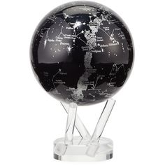 MOVA Space globe featuring silver Milky Way constellation map cast against black background. Utilizes solar technology to rotate silently on its own. Include…
