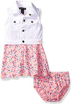 814b0e806 Limited Too Baby Girls' Woven Vest and Knit Dress Set, Multi, Girl's, Size:  Months, Pink