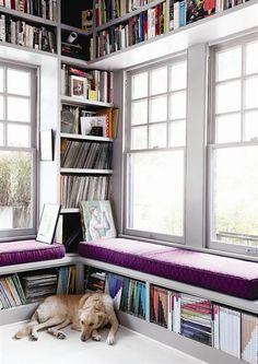 36 ideas home library study bookshelves window seats Bookshelves Built In, Book Shelves, Bookcases, Built Ins, Window Shelves, Deco Cool, Home Libraries, Reading Room, Book Nooks