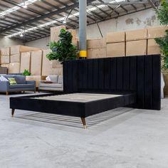 Isla King Fabric Bed - Black Velvet | Warehouse Furniture Clearance
