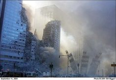 The last photo taken by photojournalist Bill Biggart (1947-2001) at the World Trade Center at 10:28 am on September 11, 2001. Moments later, he was killed by the collapse of the second tower. Biggart's body was found four days later, and although his film cameras had been destroyed by falling debris, his digital camera contained a flash card intact with 150 photos—of which this was the very last. The second tower collapsed at 10:30 am.