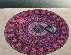 Indian mandala purple hippie beach throw bohemian wall hanging round tapestry #Unbranded #Holiday