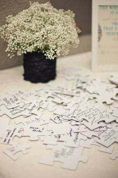 Have everyone sign a puzzle piece instead of a guest book and then after the honeymoon glue them all together in a fun way. A fun first project to do as a newly married couple.