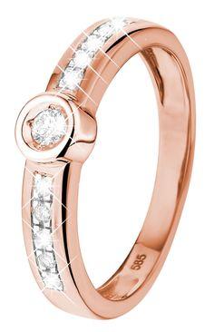 Rose gouden ring met 11 diamanten - Lucardi.nl
