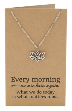 Amara Yoga Jewelry, Om Lotus Flower Necklace for Women,  - Quan Jewelry - 7
