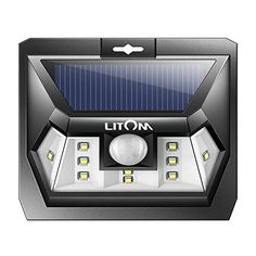 Litom Super Bright 10 LED Solar Light Motion Sensor Light Outdoor Wall Light Wide Lighting Range with LEDs Both Sides for Door Garden Path Patio-1 Pack  HIGH BRIGHTNESS: 10 LED lights offer super bright lighting, dim light mode at night and automatically turn on at bright light mode for 20 seconds with flux of 204 lumens when motion detected  WIDE ANGLE: With 2 LED lights respectively set up on both sides, the maximum lighting angle can reach 120 degree thus provides a broader range of...