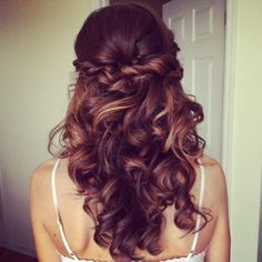 half up waterfall braid wedding hairstyles with veil - Google Search