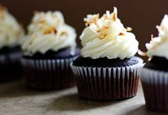 Nutella filled chocolate cupcakes and coconut cream cheese frosting w/ recipe