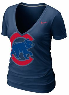 Chicago Cubs Womens Navy Deep V-Neck Burnout T-Shirt by Nike | Sports World Chicago $34.95