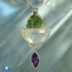 Unique Moldavite Quartz Crystal & Amethyst by ArkadiaCollection