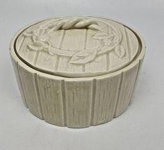 Vintage Mottahedeh fine porcelain round box off-white figural apple barrel #Mottahedeh