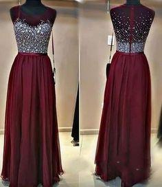 Long Custom Prom Dress,Burgundy prom dress, Beaded prom dress, Charming prom dress, Sparkly prom dress, Floor-Length prom dress, 2017 prom dress. PD01