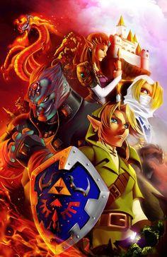 The Legend of Zelda: Ocarina of Time | Adult Link, Adult Princess Zelda, Ganondorf, Sheik, Young Link, Adult Epona, Volvagia, and a Stalfos / Zelda . colors by thekidKaos on deviantART