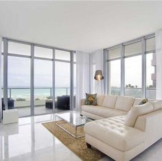 Beach condo for sale in Miami Beach, Florida, the US. Beach Condo Decor, Miami Beach Condo, Boudoir, Condo Decorating, Living Room Colors, Condos For Sale, Living Room Inspiration, Minimalist Home, Luxury Living
