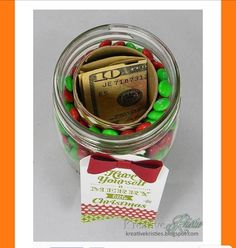 Put A Toilet Paper Roll Inside A Mason Jar Filled With Candy To Hide A Small Gift!