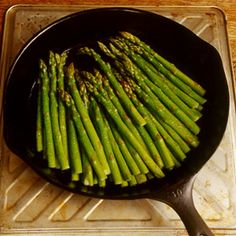 Pan roasted asparagus! I use olive oil instead of butter.