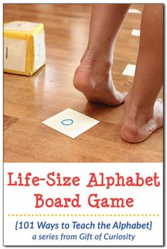 Create a life-size alphabet board game to help your children learn their letter sounds. This is just one of many ideas in the 101 Ways to Teach the Alphabet series from Gift of Curiosity Informations Preschool Board Games, Preschool Learning Activities, Alphabet Activities, Preschool Kindergarten, Reading Activities, Preschool Crafts, Preschool Activities, Teaching The Alphabet, Teaching Reading