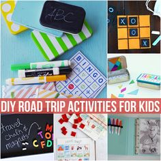 DIY Road Trip Activities for Kids from @Ashley Walters Hackshaw. Activities include DIY Marshmallow Building Kit, Funny DIY Dry Erase Book, DIY Road Trip Travel Packs and more!