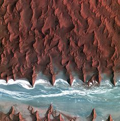 """wigmund: """" From National Geographic Space Pictures This Week; May Sea of Sand ESA A dry riverbed (seen in light blue) cuts across the Namib desert (map) in Namibia, in a picture released by. Earth And Space, Satellite Photos Of Earth, Earth Photos, Satellite Picture, Photo Of Earth, Nature Photos, Beautiful World, Beautiful Places, Stunningly Beautiful"""