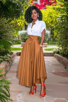 Rolled Sleeve Button-Down + Belted Midi Skirt – StylePantry Long Skirt Outfits, Dressy Outfits, Stylish Outfits, Fashion Outfits, Dress Skirt, Midi Skirt, Hijab Stile, Latest African Fashion Dresses, Elegantes Outfit
