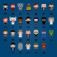 Doctor Who Alphabet - Digital PDF Cross Stitch Pattern    This is a digital PDF file of a cross stitch pattern. You will need to have a PDF