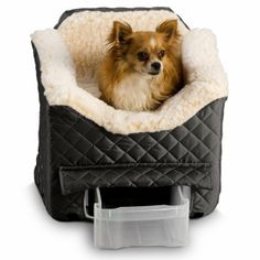 Perfect for your dog to ride safe and stay warm. The Snoozer Lookout II Pet Car Seat is sherpa lined and even has a convenient pull-out storage drawer built in. Available in a variety of colors to match your car. PetSmart: $95.99 to $114.99 #carseat