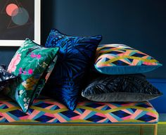Brightly coloured velvet scatter cushions from Omega Prints on a velvet bench with vibrant geometric design. Linwood Fabrics, Floral Upholstery Fabric, Free Fabric Samples, Traditional Fabric, Textile Prints, Textiles, Scatter Cushions, Modern Colors, Fabric Wallpaper