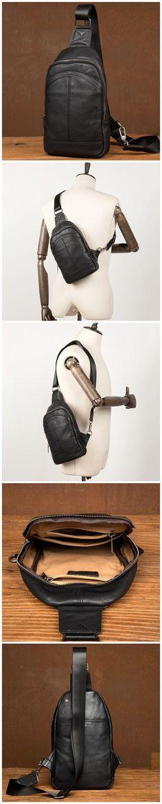 Men Leather Chest Pack Full Grain Leather Chest Bag Stylish Shoulder Messenger Bag Model Number: Dimensions: x x / 18 cm(L) x 5 cm(W) x 27 cm(H) Weight: lb / 1 kg Hardware: Brass Hardware Shoulder Strap: Adjustable Color: Black Features: Christmas Shopping, Sling Backpack, Leather Men, Messenger Bag, Shoulder Strap, Packing, Wallet, Stylish, Bags