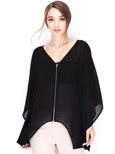 Bat Sleeve Top with Front Exposed Zipper