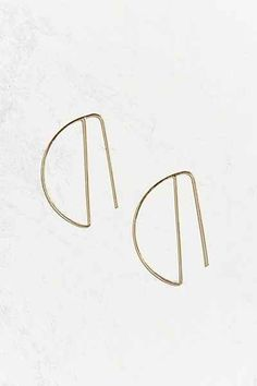 Sterling Silver + 18k Gold Plated Sideways Hoop Earring - Urban Outfitters