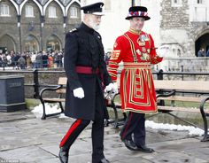 HRH Prince Michael of Kent, Master Gunner of the Tower of London, left, walks with the new chief Yeoman of the Tower Alan Kingshott,